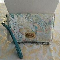 Betsey Johnson Zip Wristlet Wallet Floral Design Blue & Gold Style Photo