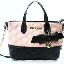 Betsey Johnston New Pink Blush Faux Leather Bicolor Bow Tote Bag Purse 78-038 Photo