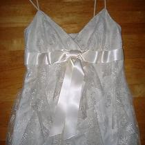 Betsy & Adam Dress Size 4 Small White Lace Tiered Bow Detail Ivory White Euc Photo