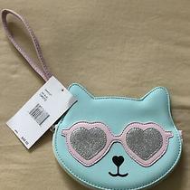 Betsy Johnson Blue Cat W/ Pink Rim Silver Glitter Sunglasses Wristlet Nwt Kitty  Photo