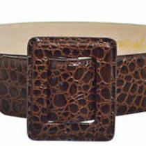Betsy Johnson Genuine Patent Brown Leather Brown Faux Alligator Belt M / L  Photo