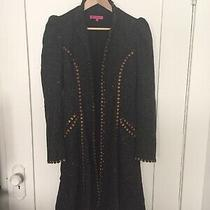 Betsy Johnson Knee Length Pea Coat Brown Ruched Shoulders Details Sz 4 Beautiful Photo