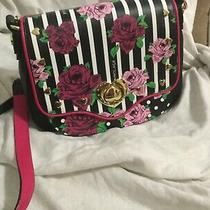 Betsy Johnson Purse .crossbody Black/white/roses /hearts Fully Linedsuper Clean Photo