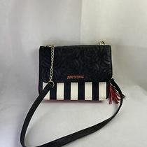 Betsy Johnson Purse Leather Black and White Stripe Red Accent Photo