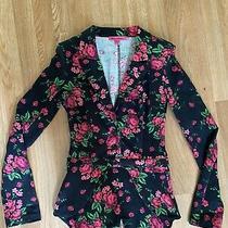 Betsy Johnson Stretchy Cotton Blazer Roses Small Photo
