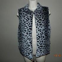Betsy Johnson Vest Black Grey Leopard Lined Jacket Coat Vest Faux Fur Size M Photo