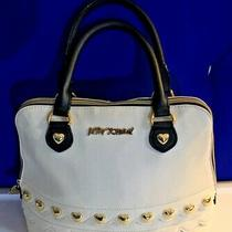 Betsy Johnson Zip White Domed Satchel Shoulder Handbag Purse Double Handles Photo