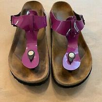 Betula Birkenstock Gizeh Purple Patent Thong Sandals Slides Women's Eu 39/l8 Photo