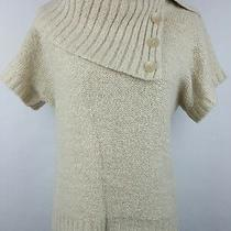 Between You & Me Large Sweater Women's Oatmeal Anthropologie Alpaca Blend S/s Photo
