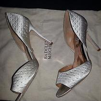 Bhldn Badgley Mischka Satin Dorsay Ivory Pumps Size 9m Wedding Shoes Photo