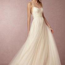 Bhldn Dreamy Rosalind Wedding Dress Size 12/14 (Pale Blush/almond) 1150 Retail Photo