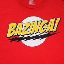 Big Bang Theory Bazinga  Lightning Bolt Men's Red T-Shirt Large Ripple Junction Photo
