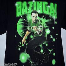 Big Bang Theory Bazinga Sheldon Cooper Med Adult T Shirt S/s Black Tv Show M  Photo