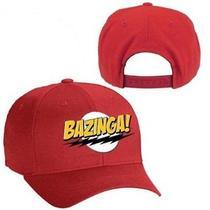 Big Bang Theory Licensed Bazinga Flash Logo Red Snapback Ball Cap Hat Photo