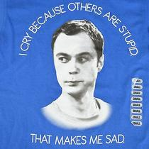 Big Bang Theory Sheldon Cooper Small T Shirt Blue Jim Parsons Face Tv Cry Stupid Photo