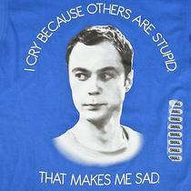 Big Bang Theory Sheldon Cooper Small T Shirt Blue Jim Parsons Face Tv Cry Stupid Photo
