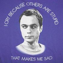Big Bang Theory T-Shirt Medium Sheldon Sad Because Stupid People Cbs Tv Sitcom Photo