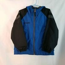 Big Boy Columbia Blue Black Gray Zip Up Jacket Hoodie With Pockets Size 4  5 Photo