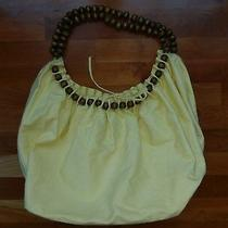 Big Buddha Yellow Handbag Bag Purse Cotton Hobo Wood Wooden Beads Light Xl Large Photo