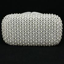 Big Clear Imitation Pearls Clutch Evening Bag Purse Handbag W/ Swarovski Crystal Photo