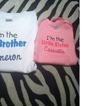 Big & Little Sister Combo Personalized Names Baby One Piece Toddler Tee Shirt  Photo
