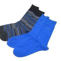 Big Sale Hugo Boss Mens Two Pack Designer Dress Socks Black Blue Stripes Photo