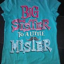 Big Sister to a Little Mister Mustache Shirt Top Girls Childrens Place 7/8 New Photo
