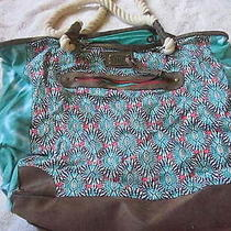 Billa Bong Teal Floral Large Fabric Tote Bag With Rope Handles Photo