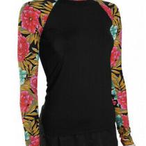 Billabong Above Love Long Sleeve Rash Guard Upf50 Black Floral Swimwear Size S Photo