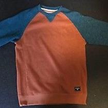 Billabong Balance Crew Sweatshirt  Rust and Blue Large Sweater With Pockets  Photo