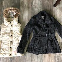 Billabong Black Gray Pea Coat Double Breasted Small Wool Blend Burton Xs Vest Photo