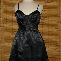 Billabong Black Satin Geometric Damask Corset Dress Jrs. Large Photo