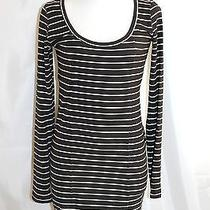 Billabong Black & White Long Sleeve Striped Sheath Dress Sz M Nice  Photo