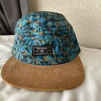 Billabong Blue Geometric Tan Suede Peak 5 Panel Hat   Photo