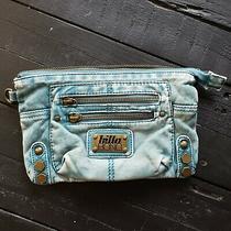 Billabong Blue Soft Leather Clutch Bag Purse Gold Hardware Women's Wristlet Photo