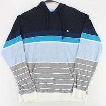 Billabong Blue White Striped L/s Hoodie Sweatshirt Pullover Youth Boys Xl Photo