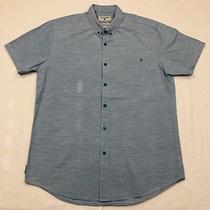 Billabong Button Up Shirt Adult Large Blue White Surf Short Sleeve Casual Mens Photo