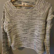 Billabong Cream & Black Fringe Pullover Sweatshirt L Photo