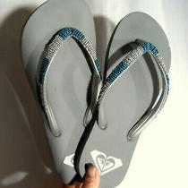 Billabong Flip Flops Sz 7 Gray Blue Beaded Beach Shoes Slippers Split Toe Soft Photo