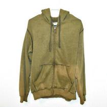 Billabong Full Zip Hoodie Jacket Men's Medium Skull Wings Olive Green Bleach Dye Photo