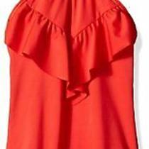 Billabong Girl's Swimwear Red Size 10 Ruffle Front Halter Swimsuit 49 631 Photo