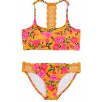 Billabong Girl Size 12 Sun Dream Trilet Set Two Piece Swimsuit Yellow H13 Photo