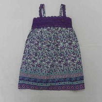 Billabong Girls Medium Purple Floral White Dress Photo