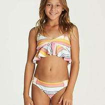 Billabong Girls' Sunny Song Flutter Bikini Set Black 10 Multi Size 10 Photo