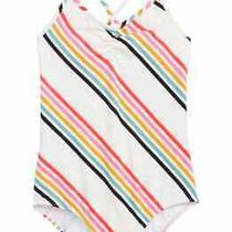 Billabong Girls Swimsuit White Size 7 Seeing Rainbows Striped One-Piece 59- 031 Photo