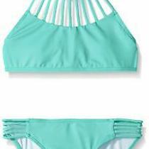 Billabong Girls Swimwear Green Size 7 Halter Sol Searcher Bikini Set 50- 822 Photo