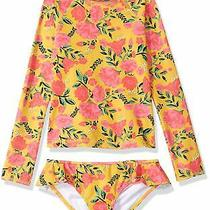 Billabong Girls Swimwear Yellow Size 7 Floral Sun Dream Rash Guard Set 65 382 Photo