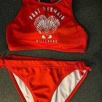 Billabong Girls Two Piece Swimsuit Size 14 Red Part Mermaid  Photo