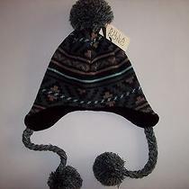 Billabong Hat Knit Trapper Bomber Girls Sz Osfm Fleece Lined Pompom Braided Nwt Photo