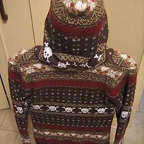 Billabong Hooded Sweater Brown Fair Isle Print Womens M Ramie 1542 Grunge Ski  Photo